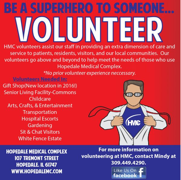 Sign up to be a Volunteer at Hopedale Medical – you could be a superhero for someone.